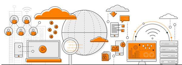 Cloud Computing concept info graphics. line icon flat design elements vector.